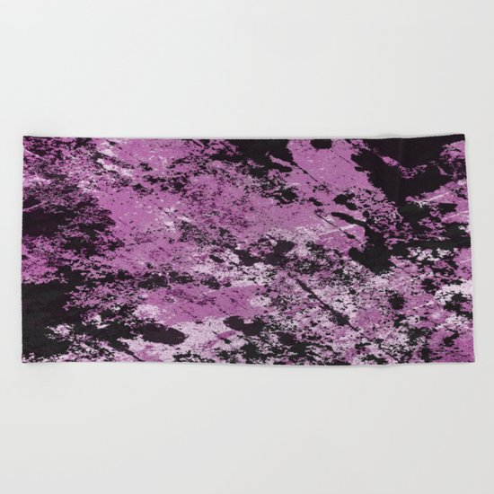 Abstract Texture Deux - Purple, White and Black Beach Towel