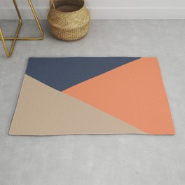 Jag: Minimalist Angled Color Block in French Blue, Peach, and Tan Rug