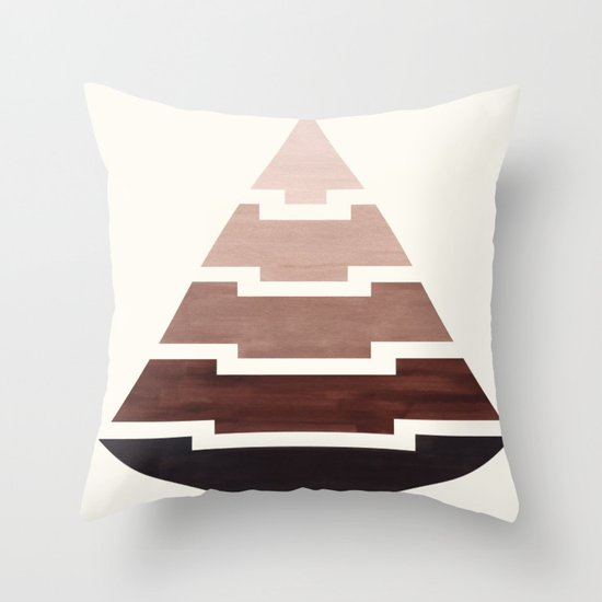 Raw Umber Watercolor Ombre Geometric Aztec Triangle Pyramid Pattern Minimalist Mid Century Design by enshape