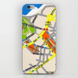 Tel Aviv Jaffa map design - written in Hebrew 2  iPhone Skin