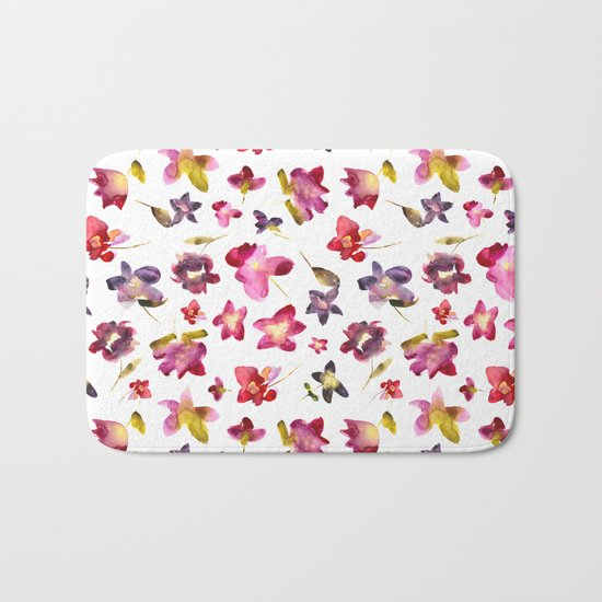 Floral vibes in watercolor Bath Mat