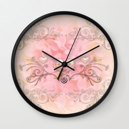 Wonderful hearts with flowers Wall Clock