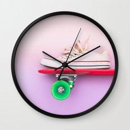 skateboard and sniker Wall Clock