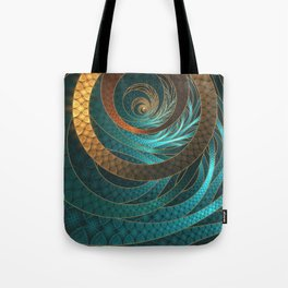 Beautiful Corded Leather Turquoise Fractal Bangles Tote Bag