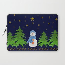 Sparkly gold stars, snowman and green tree Laptop Sleeve