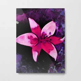 Still Life with a Pink Lily and a Purple Floor Metal Print