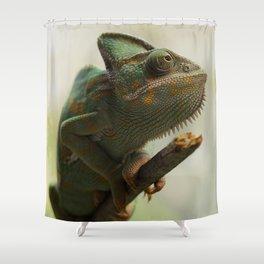 Green Chameleon on Branch Shower Curtain