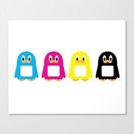 Four-Color Penguins Canvas Print