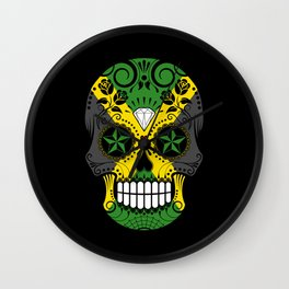 Sugar Skull with Roses and Flag of Jamaica Wall Clock