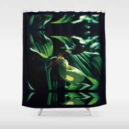 Flower in the Moonlight #3 #Lady's Slipper Shower Curtain