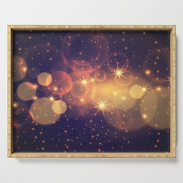 Shiny Sparkling Festive Holiday Bokeh Decorative Serving Tray