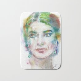 MARIA CALLAS - watercolor portrait Bath Mat
