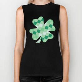 Checkered Shamrock. Four Leaf Clover. St Patrick's Day Biker Tank