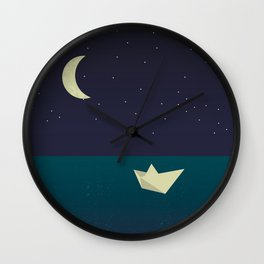 paper boat in the moonlight Wall Clock
