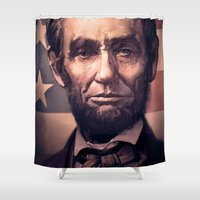 lincoln Shower Curtains featuring Lincoln by Dominick Saponaro