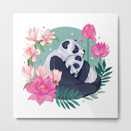 Panda Hugs Metal Print