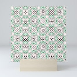 green design shapes ornate on a white background Mini Art Print