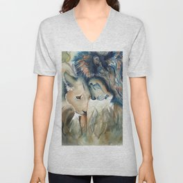 Watercolor Lion and Lioness Unisex V-Neck