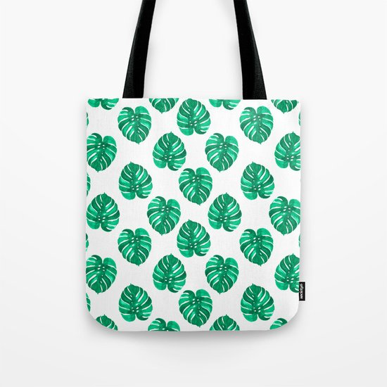 Monstera house plant leaf green painting pattern trendy hipster indoor house plant tropical garden   Tote Bag