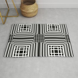 Abstract geometric shapes black pattern Rug