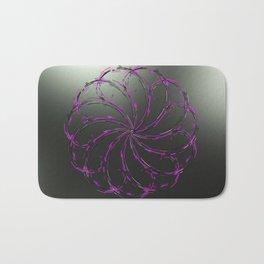 Glowing purple flower on black Bath Mat