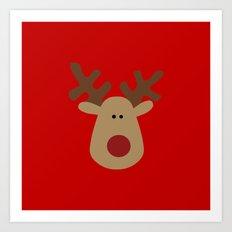 Christmas Reindeer-Red Art Print