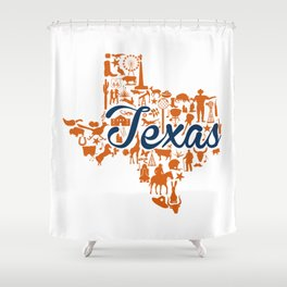 UT Austin Texas Landmark State - Blue and Orange UT Theme Shower Curtain