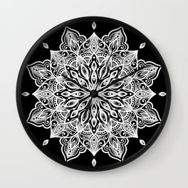 black monika's mandala Wall Clock