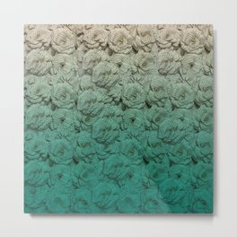 Teal Ombre Book Flower Roses Metal Print