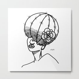 Cactus Head Pot, Flower & Fro by Pablo Rodriguez (Pabzoide) Metal Print