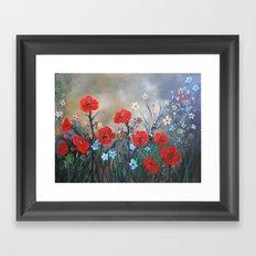 Impasto Red Poppy Love Garden Framed Art Print
