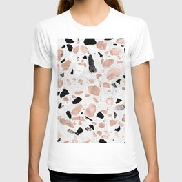 Classy rose gold vintage marble abstract terrazzo design T-shirt