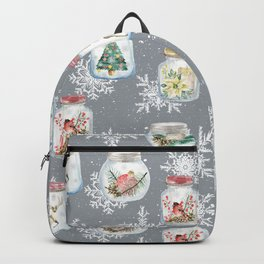 Christmas Jars Grey Backpack