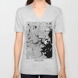 Boston Black and White Map Unisex V-Neck