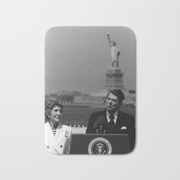 Reagan Speaking Before The Statue Of Liberty Bath Mat