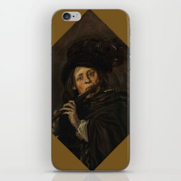 """Frans Hals """"A young man playing a flute"""" iPhone Skin"""