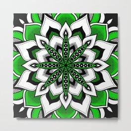 Mandala : Green Flower Mandala Metal Print