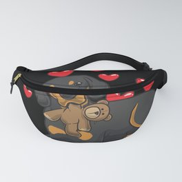 Austrian Black and Tan Hound with Hearts Fanny Pack