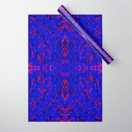 blue on red symmetry Wrapping Paper