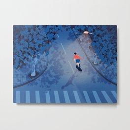 Longboarding alone on the street at night Metal Print