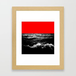 Black Wave w/Electric Red Horizon Framed Art Print