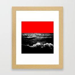 Black Wave w/Electric Red Horizon Framed Art Print