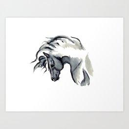 Gray Horse in ink Art Print