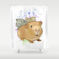 pigs Shower Curtains featuring Guinea Pigs by Adamzworld