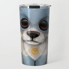 Cute Puppy Dog with flag of Argentina Travel Mug