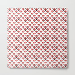 Red and white mushroom house seamless pattern Metal Print