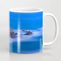 mermaids Mugs featuring Blue mermaids by Guido Montañés