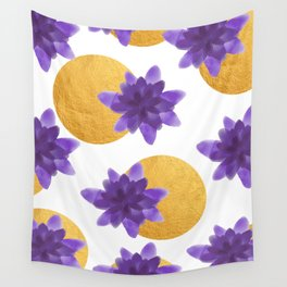 Reassurance // Violet Watercolor Flowers and Gold Spots Wall Tapestry