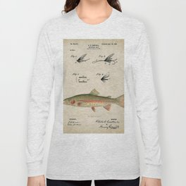 Vintage Rainbow Trout Fly Fishing Lure Patent Game Fish Identification Chart Long Sleeve T-shirt