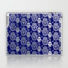 Hamsa Hand pattern - pearl and silver on lapis lazuli Laptop & iPad Skin